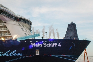 KIEL, GERMANY - JUNE 05: (EDITOR'S NOTE: Images only to be used in positive context and in connection with the naming ceremony of 'Mein Schiff 4') Franziska van Almsick during the naming ceremony of the cruise ship 'Mein Schiff 4' on June 5, 2015 in Kiel, Germany.  (Photo by Isa Foltin/Getty Images for TUI Cruises)