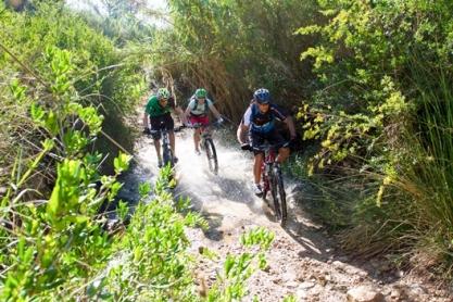 Mountainbiker auf dem Trail nahe von Andratx, Mallorca